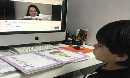 Durante o isolamento social as aulas de Inglês em parceria com International School são realizadas on-line