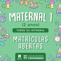 Matrículas abertas para crianças a partir de 2 anos no Maternal I do Colégio Centenário