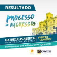 COLÉGIO GRANBERY DIVULGA RESULTADO DO PROCESSO  DE INGRESSOS