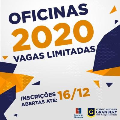 Inscrições abertas para as Oficinas de 2020